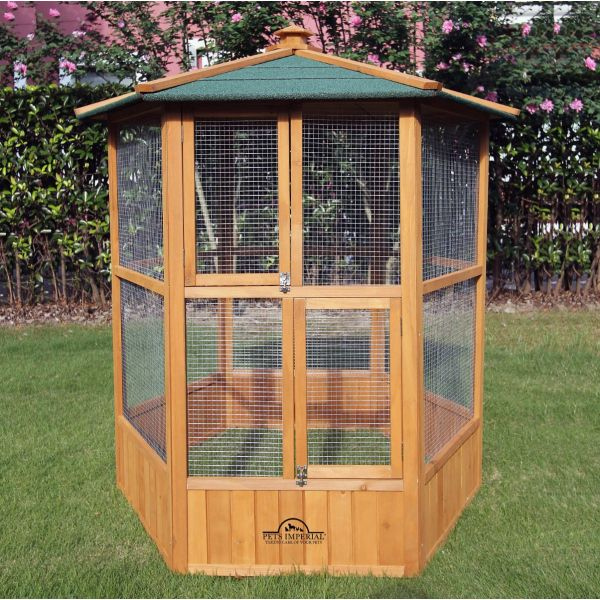 Pets Imperial® Wooden Bird Aviary Hexagonal Design